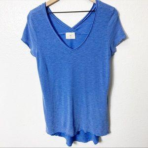 Anthropologie T.La Striped Blue Short Sleeve